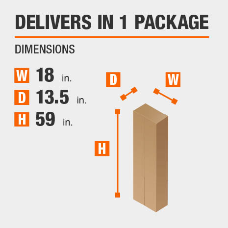 Delivers in 1 Package Dimensions of 18 inches wide, 13.5 inches deep, 59 inches high.