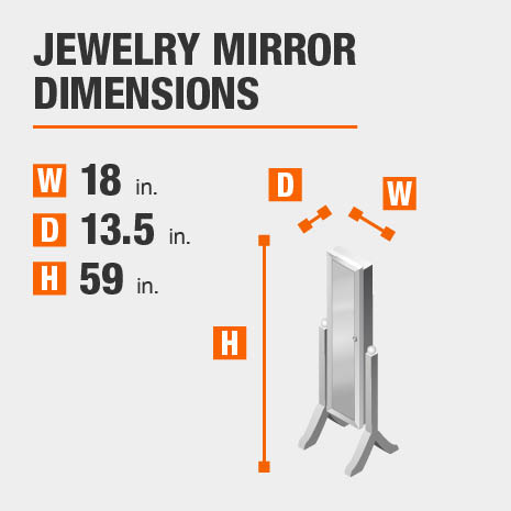 Jewelry Mirror Dimensions of 18 inches wide, 13.5 inches deep, 59 inches high.