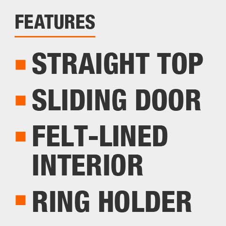 Straight Top, Sliding Door, Felt-lined Interior, Ring Holder