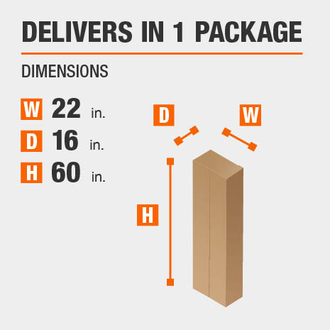 Delivers in 1 Package Dimensions of 22 inches wide, 16 inches deep, 60 inches high.
