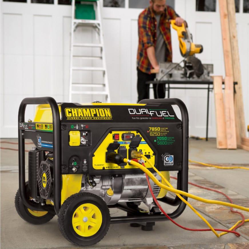 Lifestyle image of generator powering power tools