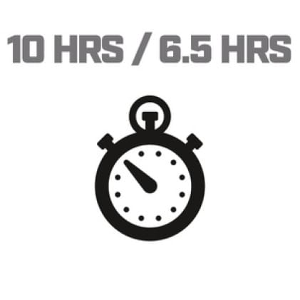 Icon image of clock showing 10/6.5 hour run time