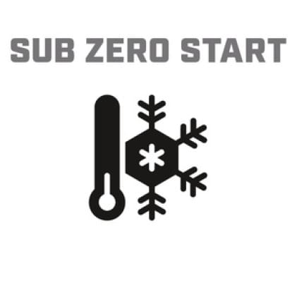 Icon image of snowflake/thermometer showing Cold Start Technology
