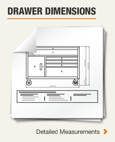 Drawer Dimensions (1) Left Side Vertical Drawer, (1) Long Drawer, (4) Left Side Drawers, (4) Right Side Drawers