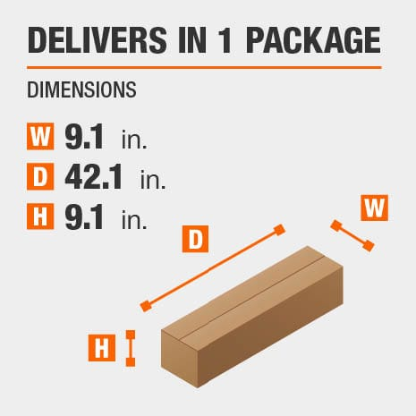 Delivers in 1 Package with Dimensions of 9.1 inches wide, 42.1 inches deep, 9.1 inches high.