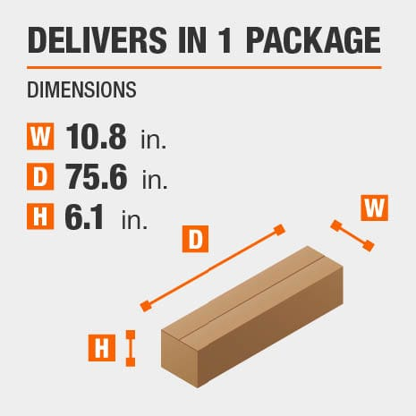Delivers in 1 Package with Dimensions of 10.8 inches wide, 75.6 inches deep, 6.1 inches high.
