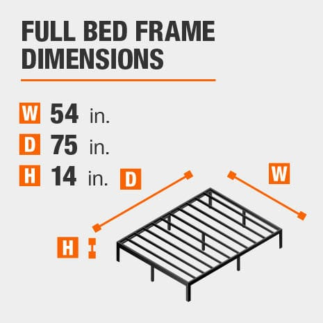 Black Metal Full Bed frame with dimensions of 54 inches wide by 75 inches deep by 14 inches high.