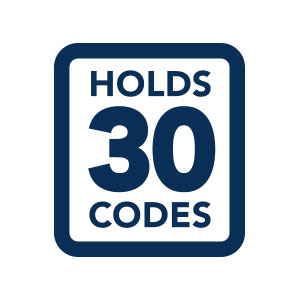 Holds 30 access codes icon.