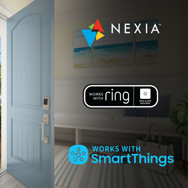 Schlage Connect Zwave smart lock on blue door with Nexia, Ring and SmartThings logos.