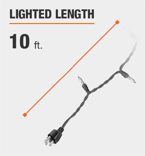 The lighted length is 10 feet