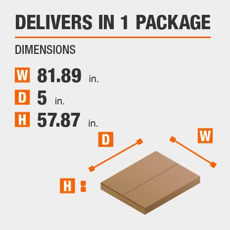 Delivers in 1 Package with the Dimensions of 81.89 inches wide, 5 inches deep, 57.87 inches high.