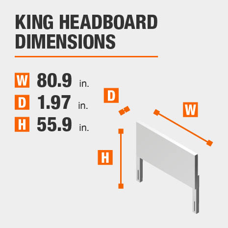 King Headboard Dimensions of 80.9 inches wide, 1.97 inches deep, 55.9 inches high.
