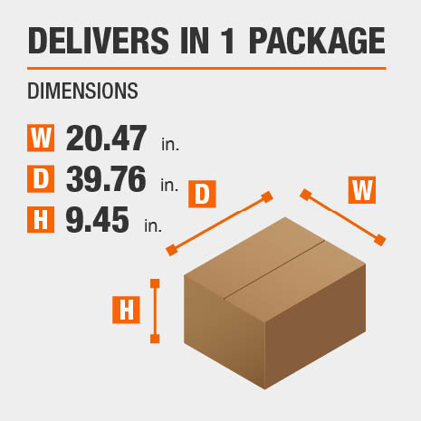 Delivers in 1 Package with the dimensions of 20.47 inches wide, 39.76 inches deep, 9.45 inches high.