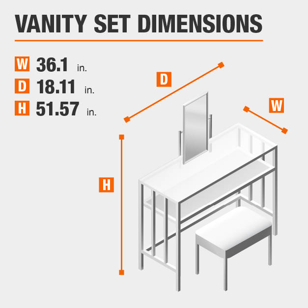 Vanity Set Dimensions of 36.1 inches wide, 18.11 inches deep, 51.57 inches high.
