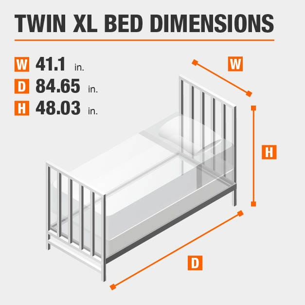 Twin XL Bed Dimensions of 41.1 inches wide, 84.65 inches deep, 48.03 inches high.