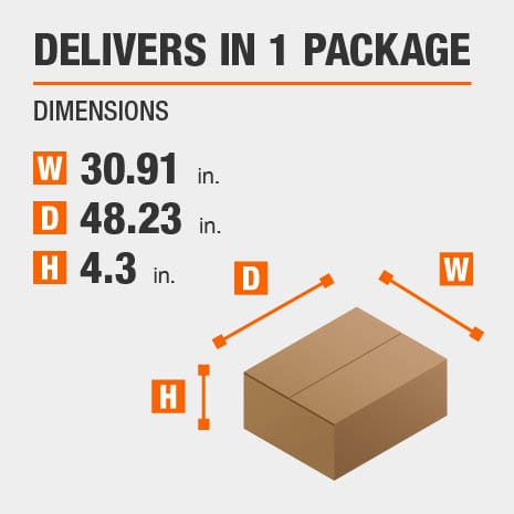 Delivers in 1 Package with the Dimensions of 30.91 inches wide, 48.23 inches deep, 4.3 inches high.