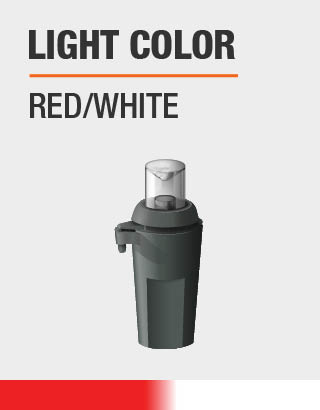 The light colors are red and white