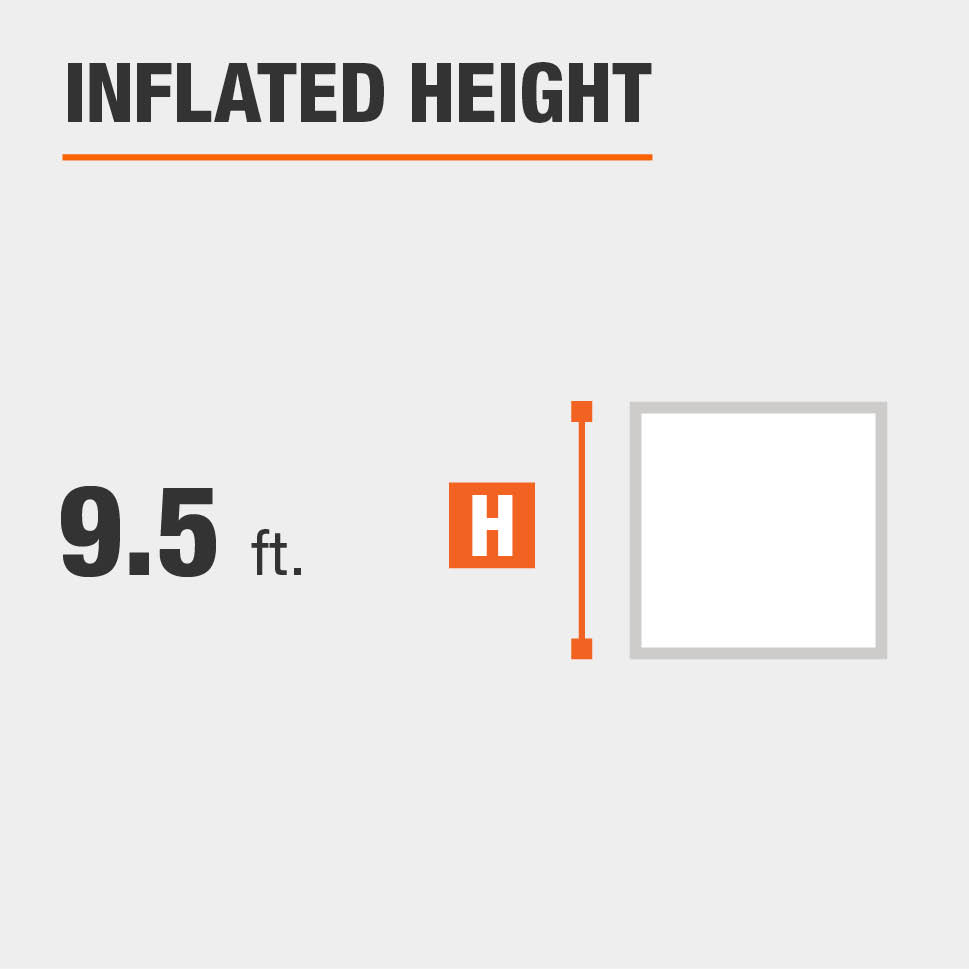 Inflated height is 9.5 feet