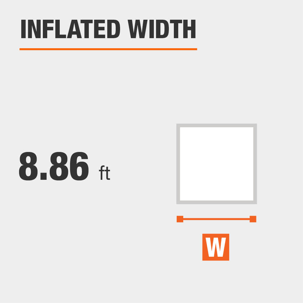 Inflated width is 8.86 feet