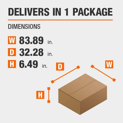 Delivers in 1 Package with the Dimensions of 83.89 inches wide, 32.28 inches deep, 6.49 inches high.