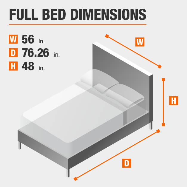 Full Bed Dimensions of 56 inches wide, 76.26 inches deep, 48 inches high.
