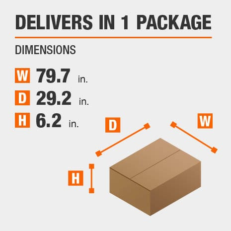 Delivers in 1 Package with the Dimensions of 79.7 inches wide, 29.2 inches deep, 6.2 inches high.