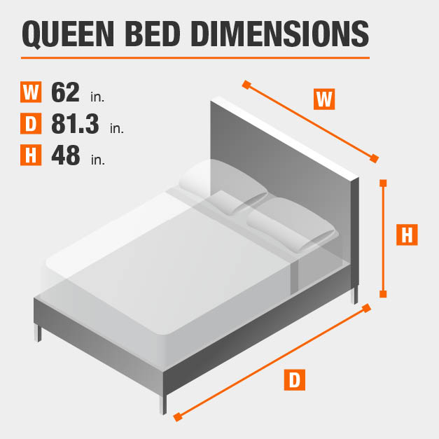 Queen Bed Dimensions of 62 inches wide, 81.3 inches deep, 48 inches high.