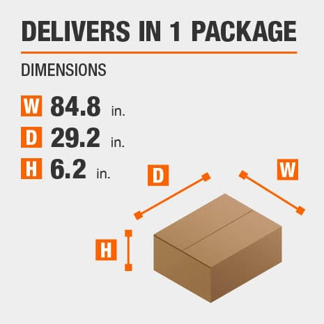 Delivers in 1 Package with the Dimensions of 84.8 inches wide, 29.2 inches deep, 6.2 inches high.