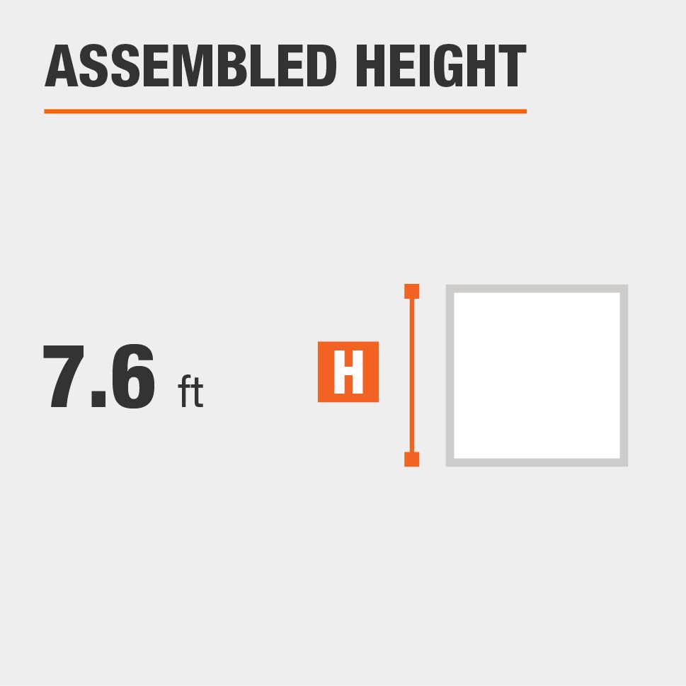 Assembled height is 7.6 feet