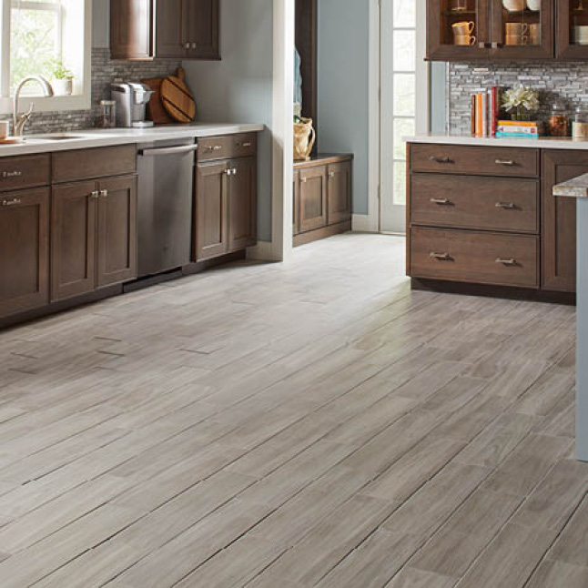 Wood look porcelain tile featured in a kitchen