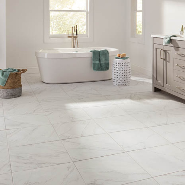 Stone look porcelain tile featured in a bathroom