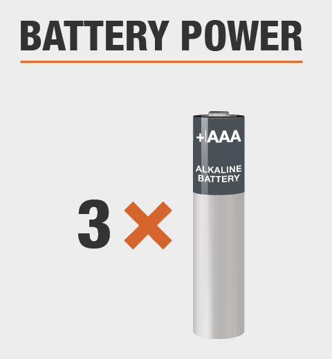 This product is powered by three double A batteries