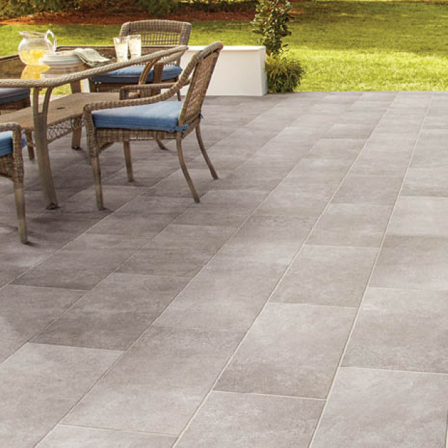 Stone look procelain tile featured in an outdoor patio