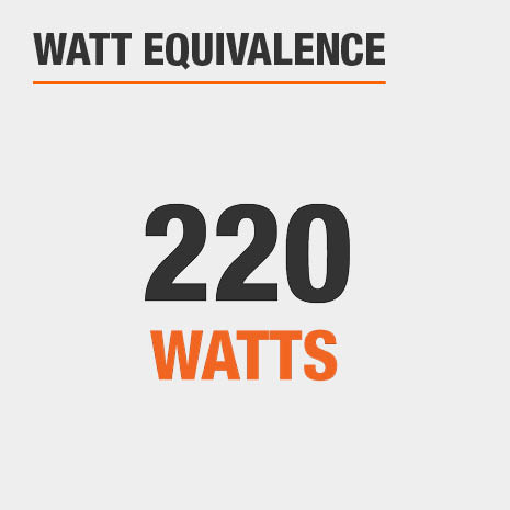 This light has a watt equivalence of 220 watts.