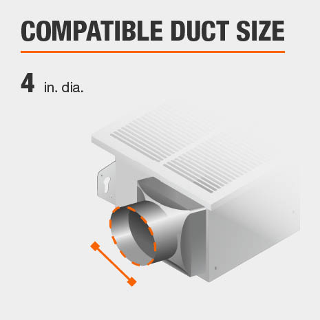 This bath fan is compatible with a duct size of 4 inches.