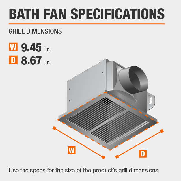 This bath fan has grill specs of 9.45x8.67.