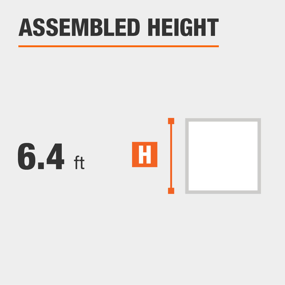 Assembled height is 6.4 feet