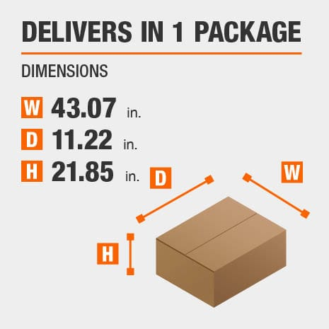 Delivers in 1 Package with the Dimensions of 43.07 inches wide, 11.22 inches deep, 21.85 inches high.