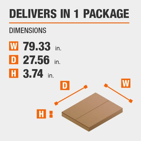 Delivers in 1 Package with the Dimensions of 79.33 inches wide, 27.56 inches deep, 3.74 inches high.