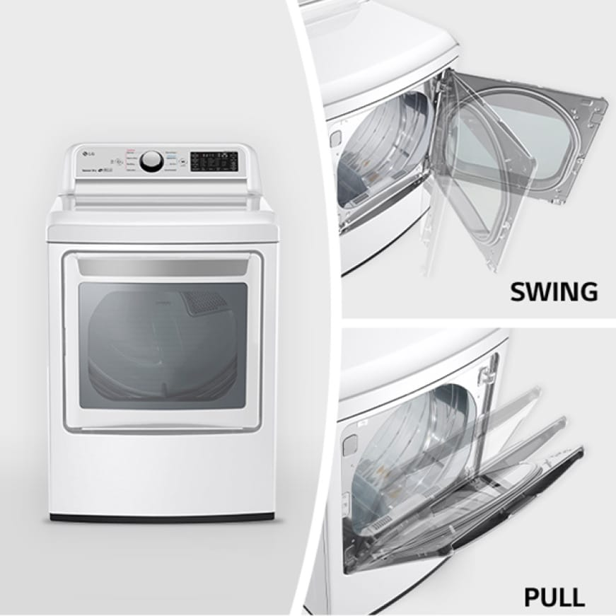 LG EasyLoad door has two convenient ways to get clothes in and out of the dryer