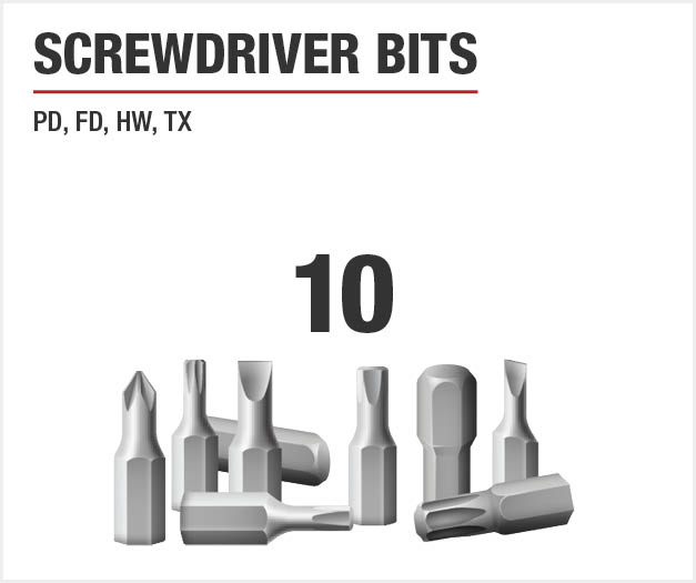 Set includes ten screwdriver bits.