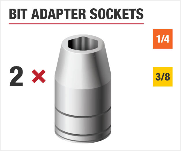 Set includes two bit adapter sockets.
