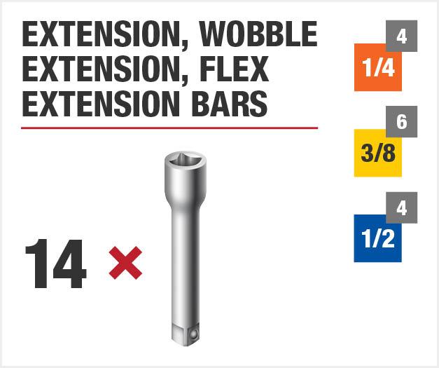 Set inlcudes fourteen extension bars