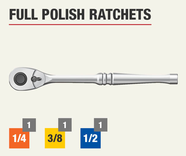 Set includes three full polish ratchets, one 1/4 inch, one 3/8 inch, and one 1/2 inch.