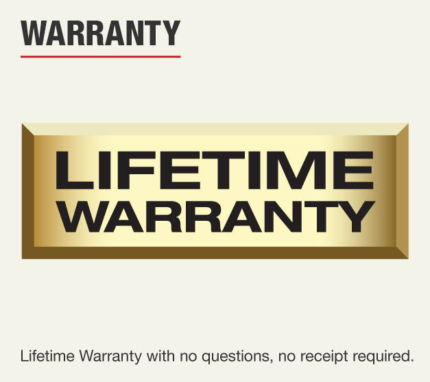 This item has a lifetime warranty with no receipt required