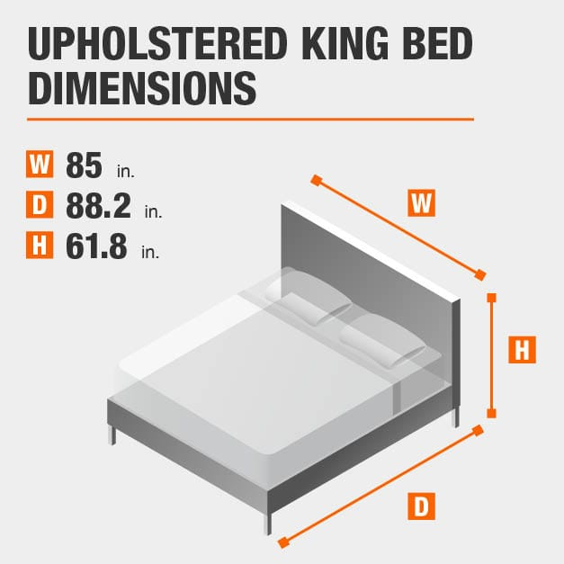 Upholstered King Bed Dimensions of 85 inches wide, 88.2 inches deep, 61.8 inches high.