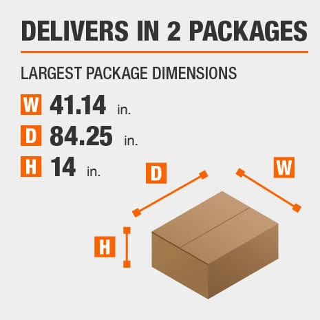 Delivers in 2 Packages with the Largest Package Dimensions of 41.14 inches wide, 84.25 inches deep, 14 inches high.