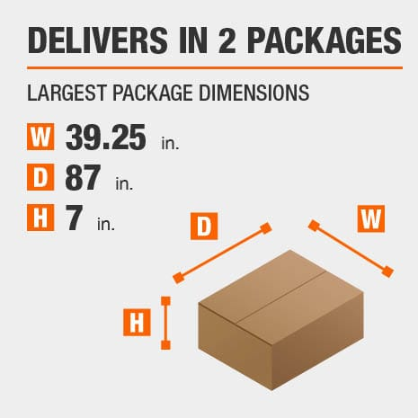 Delivers in 2 Packages with the Largest Package Dimensions of 39.25 inches wide, 87 inches deep, 7 inches high.