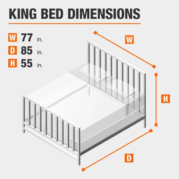 King Bed Dimensions of 77 inches wide, 85 inches deep, 55 inches high.