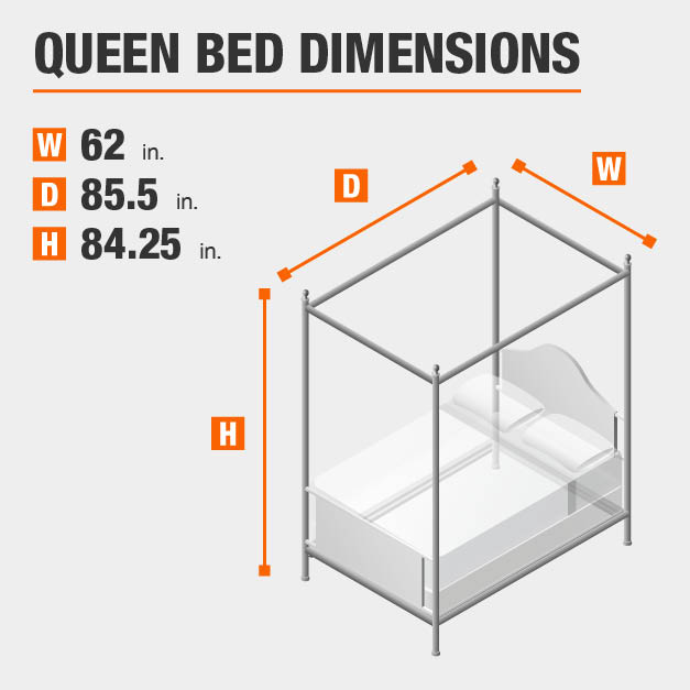Queen Bed Dimensions of 62 inches wide, 85.5 inches deep, 84.25 inches high.